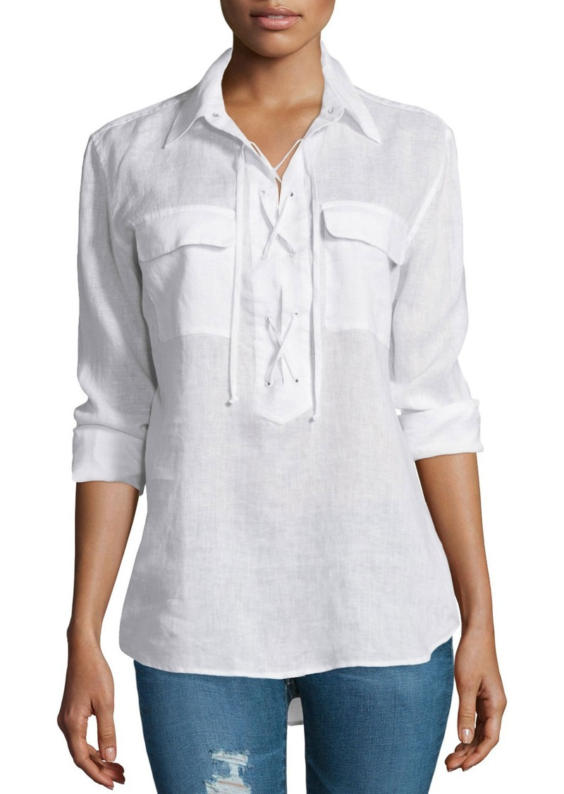 Equipment Knox Long-Sleeve Lace-Up Top