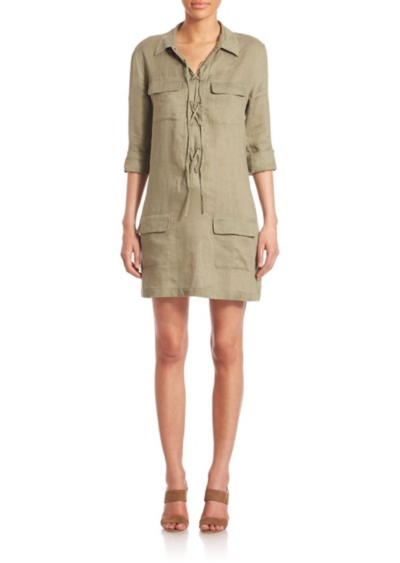 Equipment Knox Linen Lace-Up Shirtdress