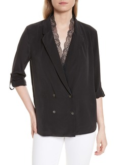Equipment Lace Collar Double-Breasted Silk Top