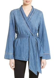 Equipment Lafayette Denim Wrap Top