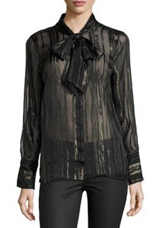 Equipment Leema Lace-Trim Tie-Neck Blouse