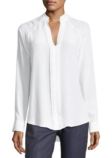 Equipment Liana Long-Sleeve Pleated-Front Silk Blouse