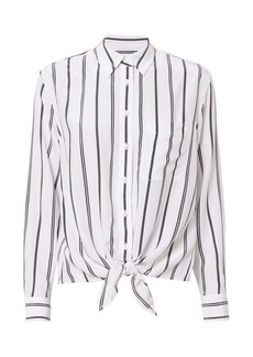 Equipment Long Sleeve Daddy Tie Front Blouse