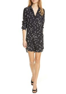 Equipment Long Sleeve Star Print Silk Shirtdress