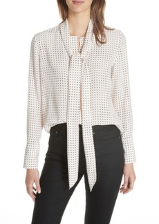 Equipment Luis Tie Neck Dot Silk Blouse