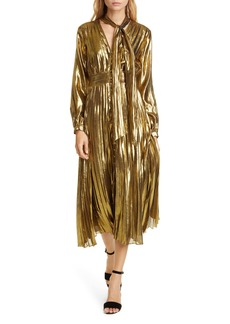 Equipment Macin Silk & Metallic Long Sleeve Dress