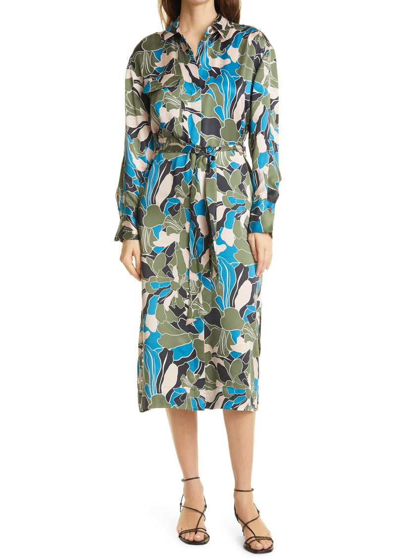 Equipment Mannon Belted Long Sleeve Silk Shirtdress