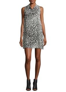 Equipment Mina Sleeveless Cheetah-Print Silk Shirtdress