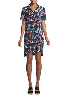 Equipment Mirelle Short-Sleeve Floral-Print Silk Dress