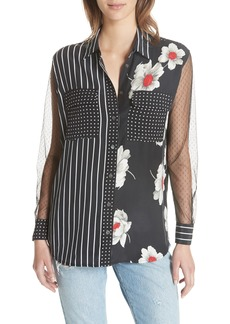 Equipment Mixed Print Signature Silk Shirt