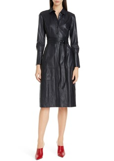 Equipment Orelie Long Sleeve Leather Shirtdress
