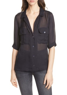 Equipment Parnella Tonal Pattern Elbow Sleeve Silk Shirt