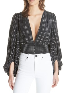 Equipment Polka Dot Plunge Silk Blouse