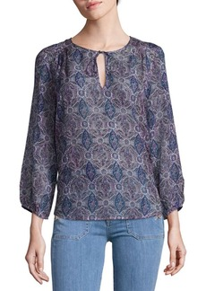 Equipment Printed Long-Sleeve Blouse