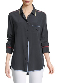 Equipment Reese Contrast-Trim Boyfriend Shirt