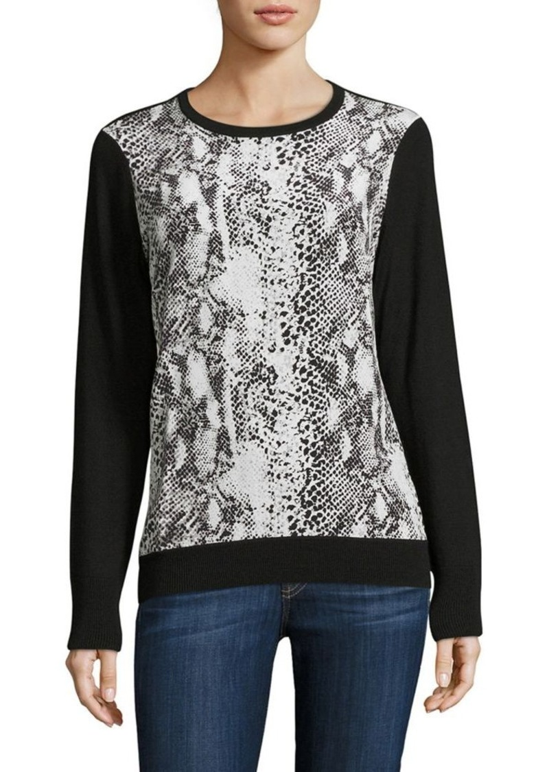 Equipment Roland Wool & Silk Snake-Print Sweater