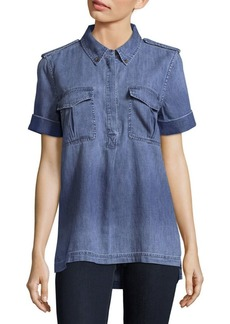Equipment Rory Blueprint Cotton Collared Shirt