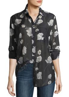 Equipment Rose-Print Button-Front Egyptian Cotton Shirt