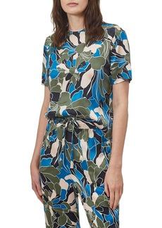 Equipment Saxonne Tropical Floral Print Silk Top