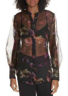 Equipment Sheer Silk Chiffon Blouse