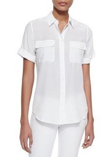 Equipment Short-Sleeve Slim Signature Silk Blouse