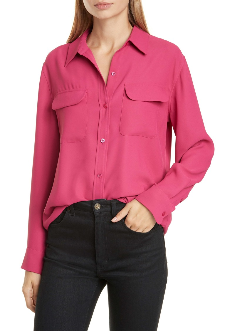 Equipment Signature Flap Pocket Satin Shirt