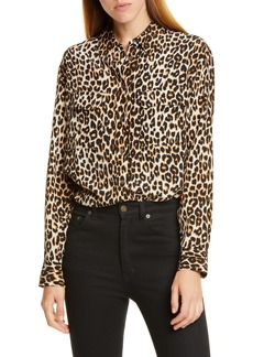 Equipment Signature Leopard Print Silk Blend Blouse