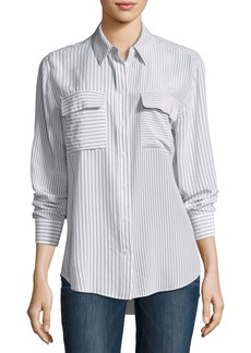 Equipment Signature Striped Button-Front Silk Blouse
