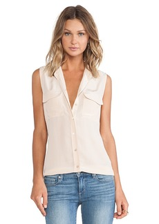 Equipment Sleeveless Slim Signature Blouse in Beige. - size M (also in S,XS)