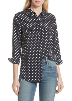 Equipment Slim Signature Polka Dot Silk Shirt