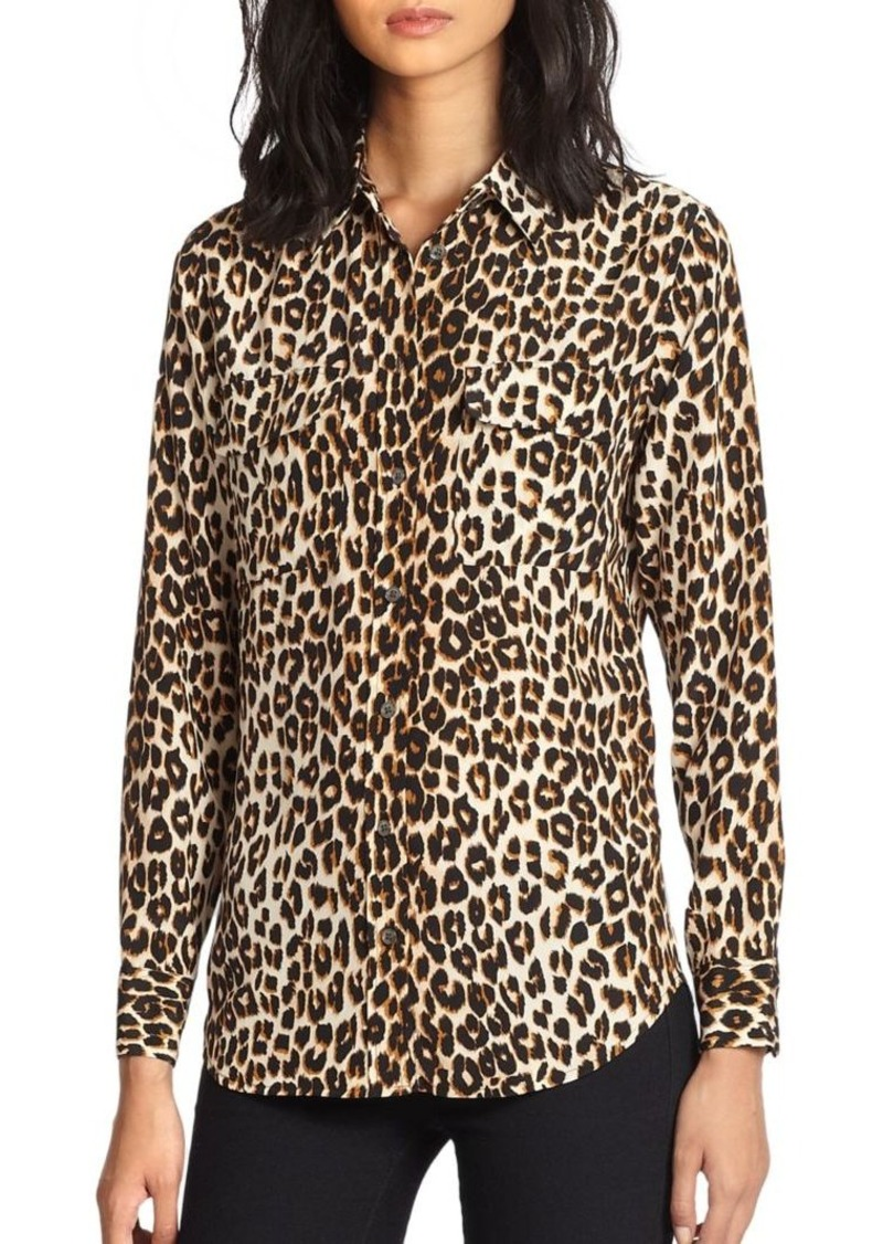 Equipment Slim Signature Silk Leopard Print Shirt Casual Shirts