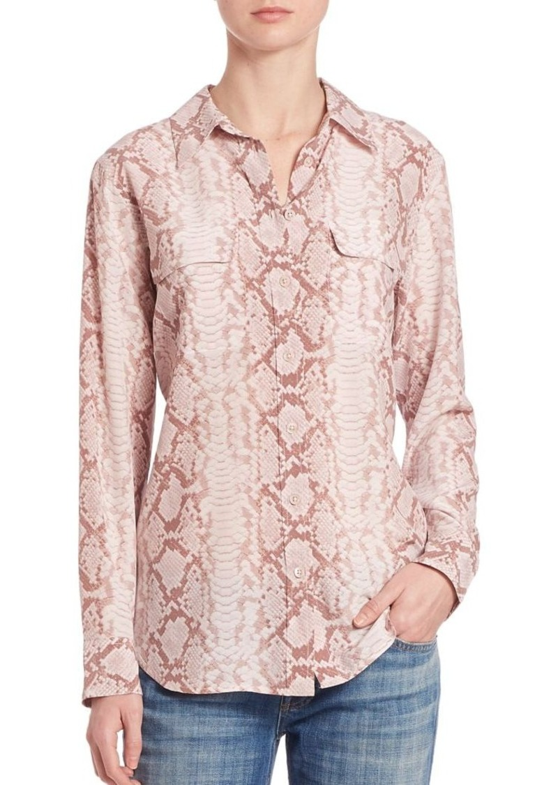 Equipment Slim Signature Silk Snake-Print Blouse