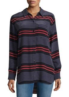 Equipment Stripe Silk Casual Button-Down Shirt