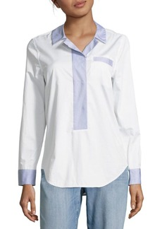 Equipment Stripe-Trimmed Cotton Top