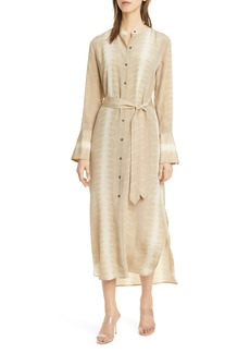 Equipment Subtle Snake Print Long Sleeve Silk Shirtdress