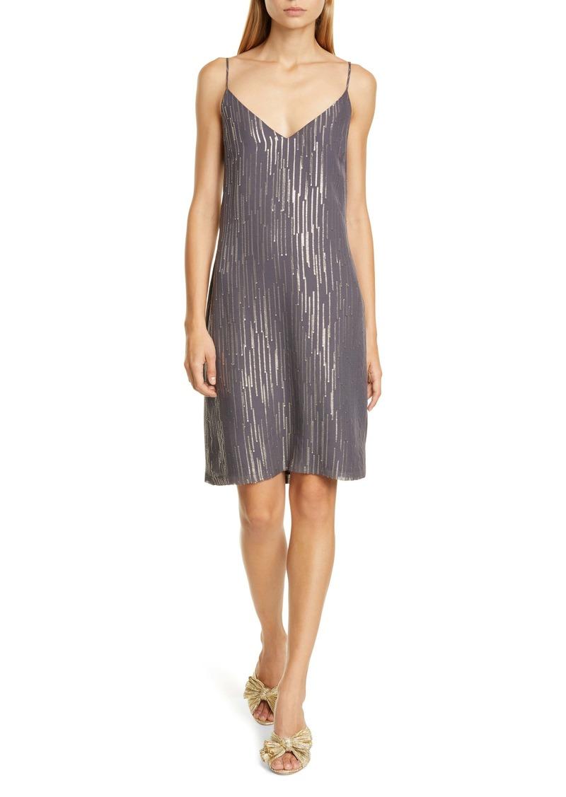 Equipment Tansie Sequin Stripe Silk Georgette Shift Dress