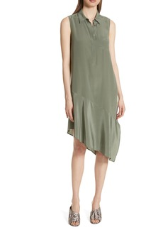 Equipment Tira Asymmetrical Hem Silk Shirtdress