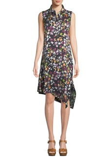 Equipment Tira Sleeveless Tiny Floral-Print Silk Dress w/ Asymmetric Hem