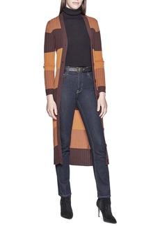Equipment Verelle Stripe Ribbed Long Wool Cardigan