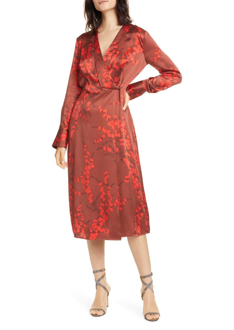 Equipment Willow Faux Wrap Silk Midi Dress