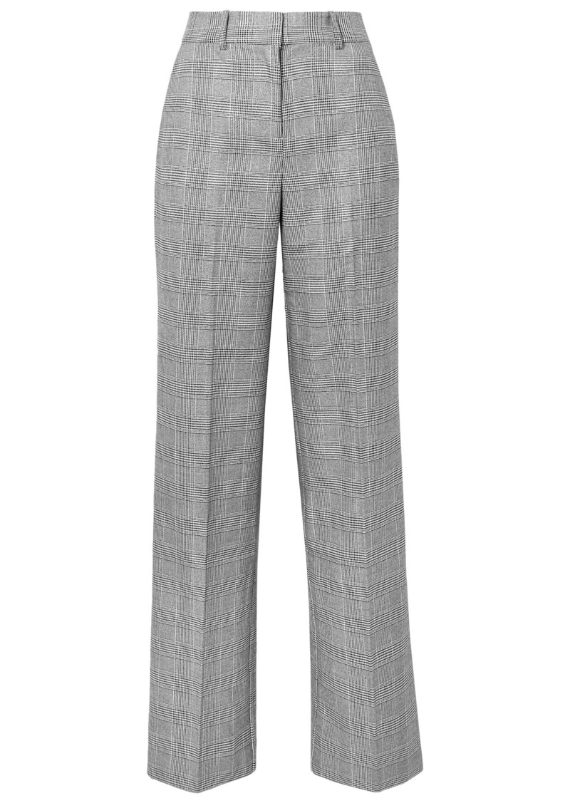 Equipment Woman + Tabitha Simmons Hyperion Prince Of Wales Checked Voile Wide-leg Pants Gray