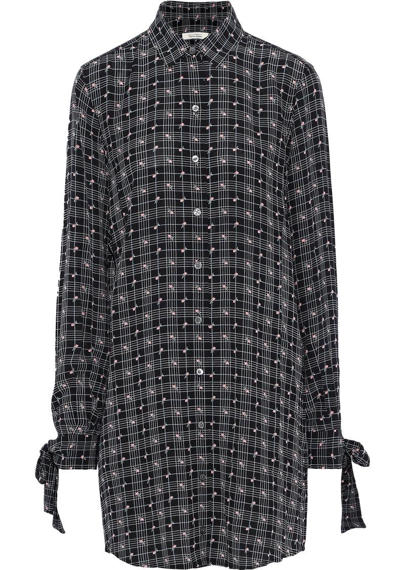 Equipment Woman + Tabitha Simmons Manning Printed Crepe De Chine Mini Shirt Dress Black