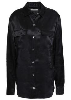 Equipment Woman Signature Satin-jacquard Shirt Black
