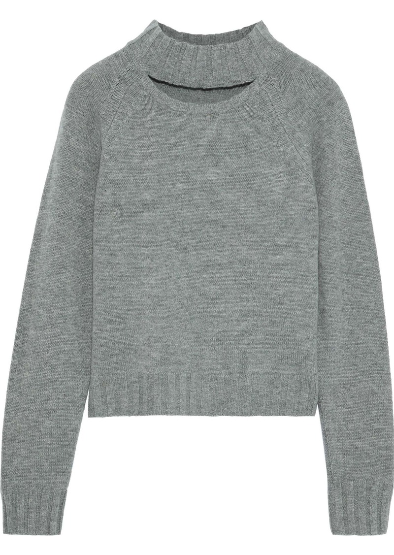 Equipment Woman Abel Cutout Wool And Cashmere-blend Sweater Gray