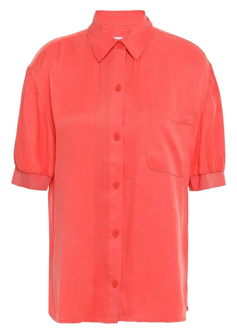 Equipment Woman Abelia Pintucked Washed Silk-blend Shirt Papaya