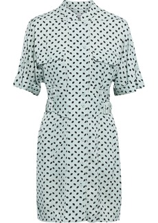 Equipment Woman Absalone Buckled Printed Jacquard Mini Shirt Dress Mint