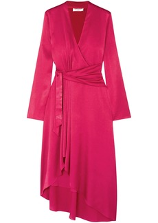 Equipment Woman Adisa Asymmetric Wrap-effect Satin Dress Crimson