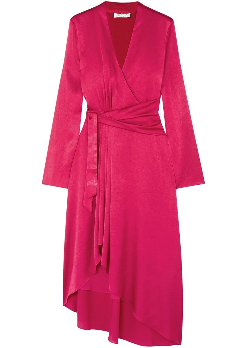 Equipment Woman Adisa Asymmetric Wrap-effect Satin Dress Crimson
