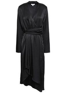 Equipment Woman Adisa Asymmetric Wrap-effect Satin Dress Black