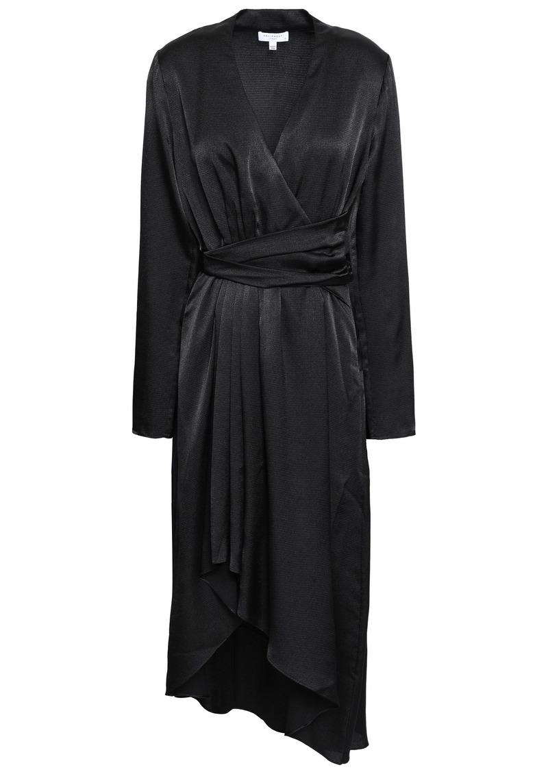 Equipment Woman Adisa Asymmetric Wrap-effect Satin Dress Black